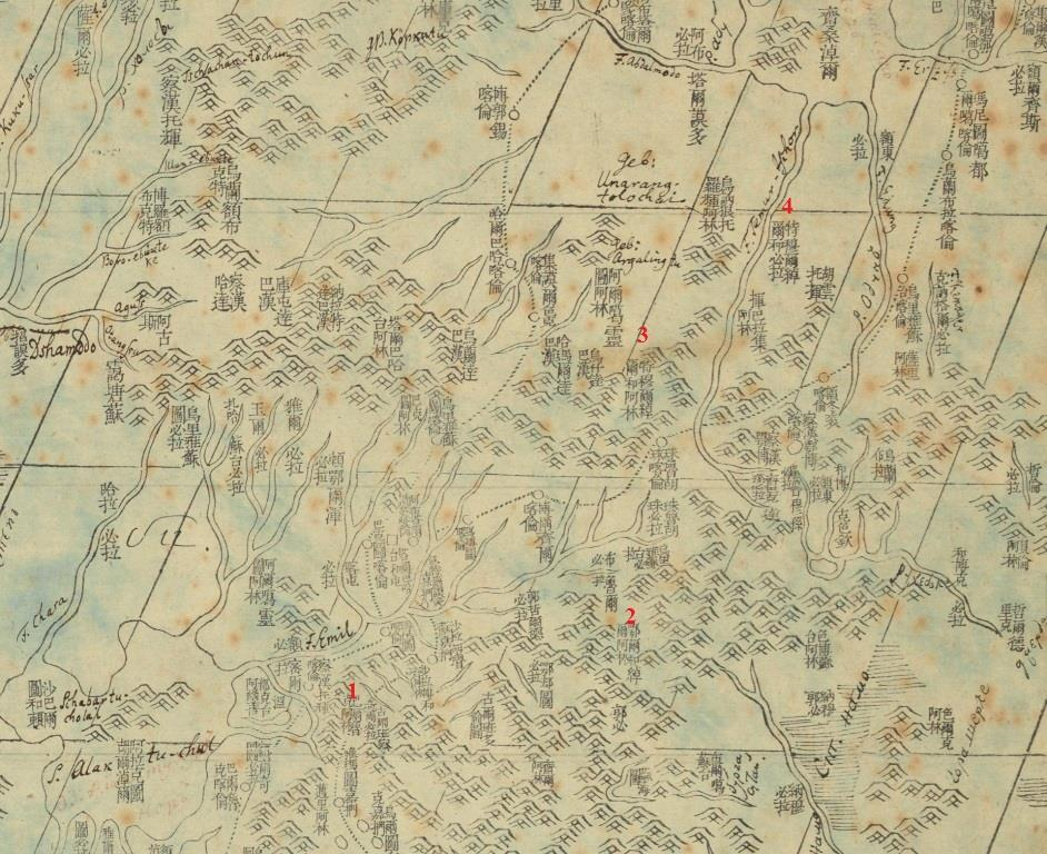 Map No. 1: Qianlong Map (detail). Source: BnF, GE D 25949 (1) RES.